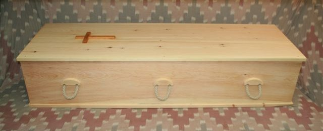 Standard Rectagular Coffin with Six Hemp Rope Handles
